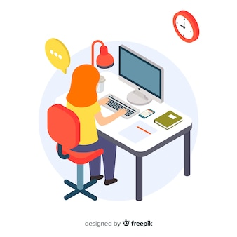 Girl working at the office isometric background