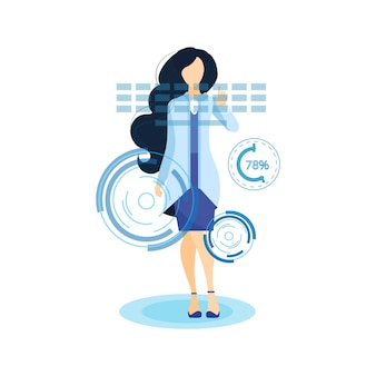 Girl working with ar touchscreen flat illustration