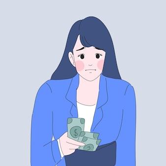 돈 지갑 일러스트에 대해 걱정하는 소녀