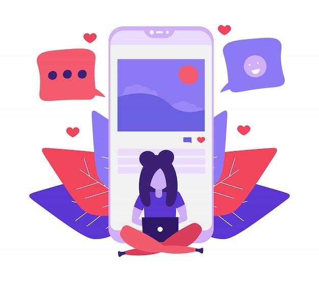 소셜 미디어에 소녀 쓰기 게시물 및 의견