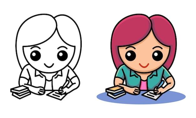 아이들을위한 숙제 색칠 페이지를 작성하는 소녀