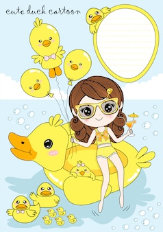 Girl and yellow duck in the summer