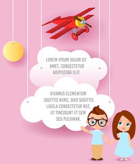 Girl and young boy with glasses. vector paper art of cloud and plane flying in the sky. template advertising