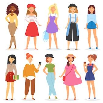 Девушка молодой женский подросток характер и красивая девичий подросток иллюстрация girlie набор модной подруги на белом фоне