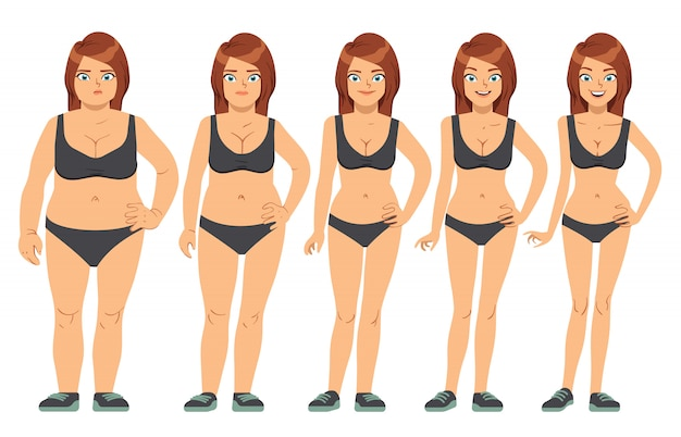 다이어트와 피트니스 전후 여자, 젊은 여자. 체중 감량 단계 벡터 일러스트 레이 션