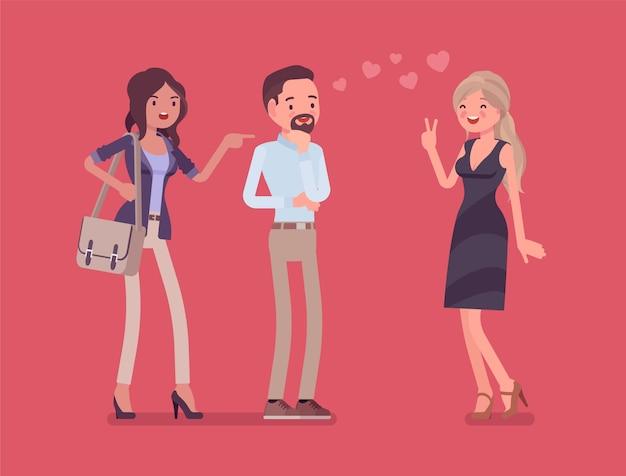 嫉妬を感じているガールフレンド。ボーイフレンドが他の女の子と話していることに夢中な女性、強迫的な愛、不審な関係にある不信のパートナーに苦しんでいます。スタイル漫画イラスト