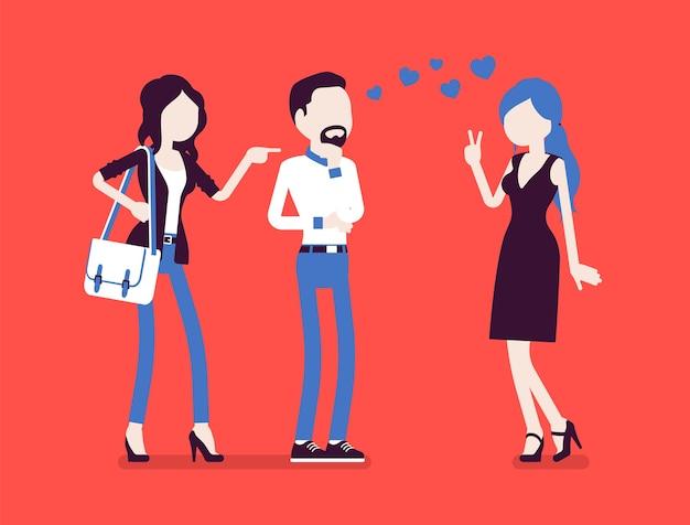 嫉妬を感じるガールフレンド