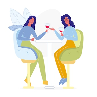 Girlfriends drinking in bar flat illustration