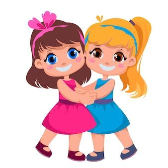 Girlfriends hug children s friendship vector illustration in cartoon style two beauty sisters