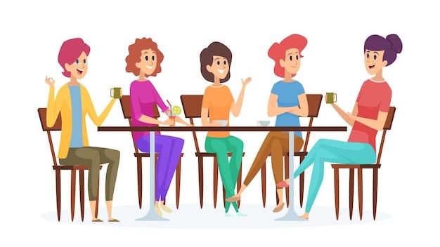 ガールフレンドミーティング。かわいい女性のパーティー、飲み物を持った女性が話したり笑ったりします。