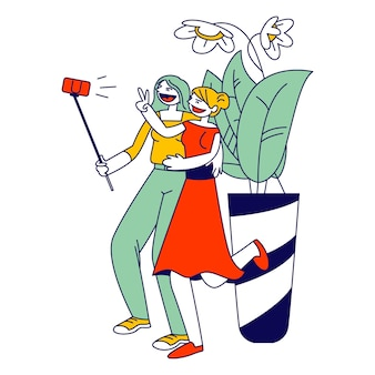Girlfriends meeting. young girls making selfie on smartphone for post in internet networks. cartoon flat illustration