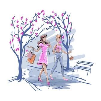 ガールフレンドは、屋外で一緒に時間を過ごし、コーヒーのコンセプトを話したり飲んだりしています。ピンクの服を着た若い女の子が買い物袋を持って都市公園を歩いたり、おしゃべりしたりします。単純なフラットベクトル