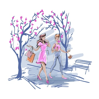 Girlfriends spending time together outdoors, talking and drinking coffee concept. young girls in pink clothing walking in city park with shopping bags and chatting. simple flat vector