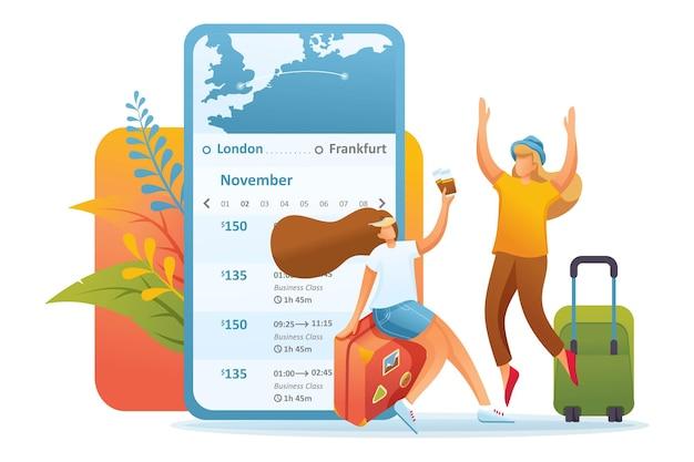 여자 친구 관광객들이 모바일 앱을 통해 티켓을 구매했습니다.