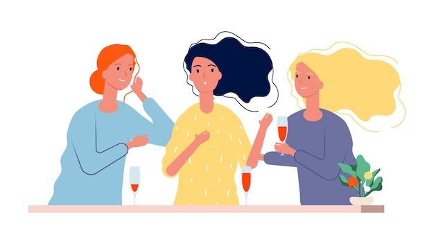 ガールフレンド。カフェやレストランで会う女性。女性の夜、女の子が話し、ゴシップと笑いのイラスト。