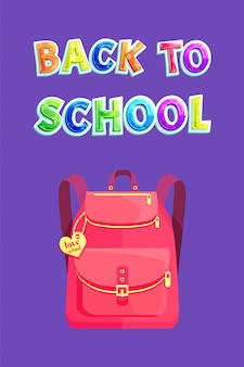 Girlish backpack with heart, back to school