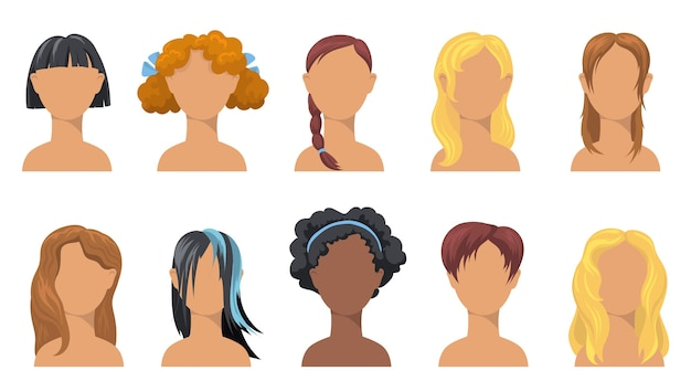 ガーリーなトレンディなヘアスタイルセット。さまざまな民族、髪のタイプ、色、長さの女の子のためのスタイリッシュなヘアカット。