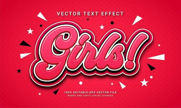 Girls 3d text style effect themed little kids