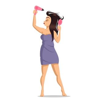 シャワーの後の女の子。女性の顔のスキンケア。女の子は髪を乾かします。