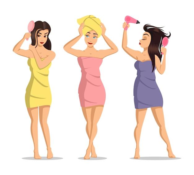 シャワーの後の女の子。女性の顔のスキンケア。