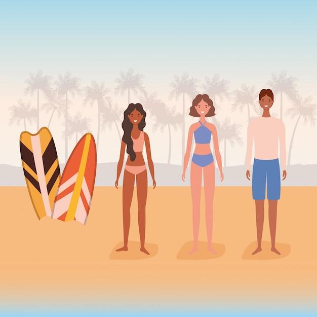 サーフボードベクターデザインとビーチで水着の女の子と男の子の漫画