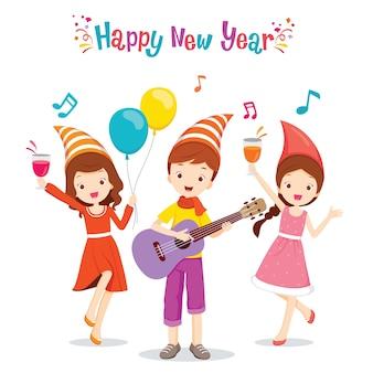 女の子と男の子の楽しいパーティー、ギター、ダンス、クリスマス、新年のお祝い