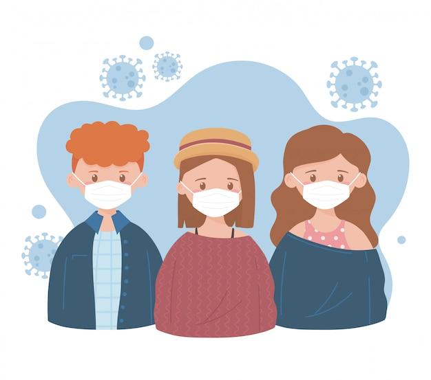 医療用マスクのある少女と少年、予防の推奨、コロナウイルスcovid-19
