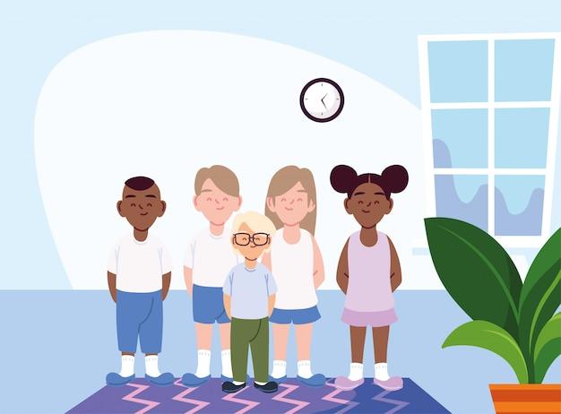家の部屋のベクトルの女の子と男の子の漫画