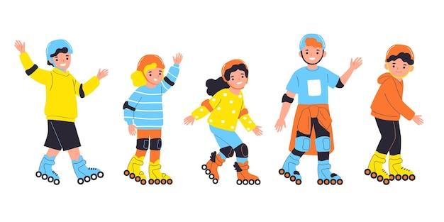 Девочки и мальчики катаются на роликовых коньках векторные иллюстрации в плоском стиле