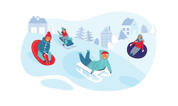 Девочки и мальчики на санках. детские персонажи веселятся на зимних праздниках. счастливые люди, играющие на открытом воздухе в снегу.