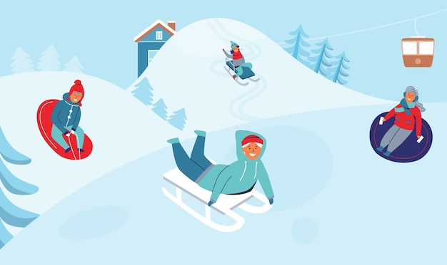 Девочки и мальчики катаются на санях на горнолыжном курорте. детские персонажи веселятся на зимних праздниках. счастливые люди, играющие на открытом воздухе в снегу.