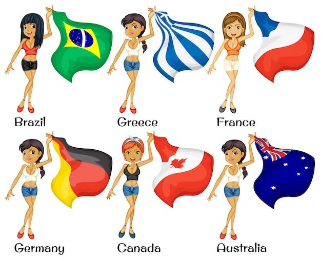 女の子と旗