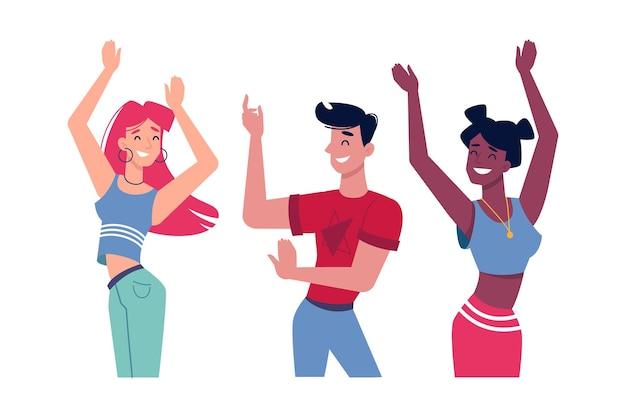 Девушки и парень танцуют на вечеринке или в музыкальном клубе, люди персонажи плоские изолированные