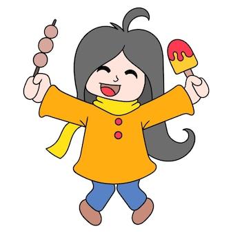 Девушки празднуют летнюю еду, мороженое и закуски, векторные иллюстрации. каракули изображение значка каваи.