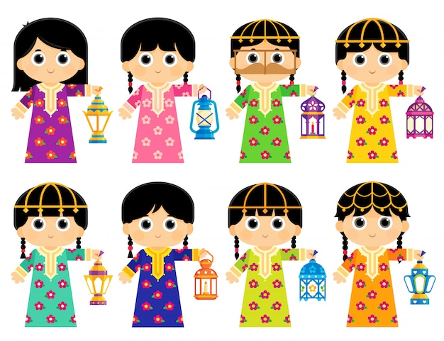 Girls are wearing an old traditional clothes in some arab gulf countries and carrying ramadan lanterns