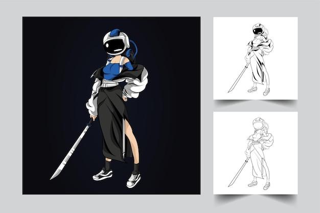 女の子の宇宙飛行士の剣のアートワークのイラスト