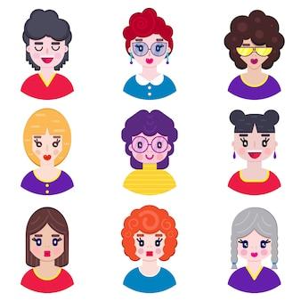 Girls avatars in flat style