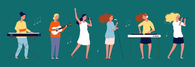 Girls band. female musicians and singers with musical instruments. women singing team  characters.