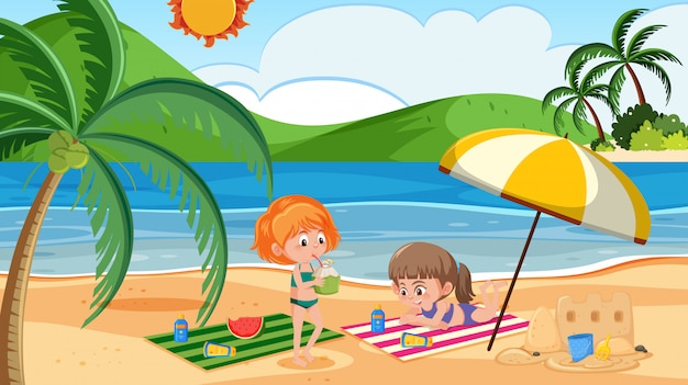 Girls at beach for holiday
