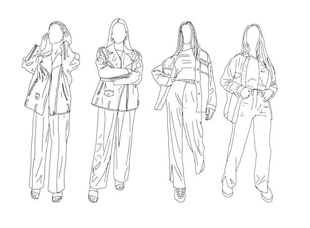 Байкерские куртки для девочек. линейный стиль. векторные иллюстрации