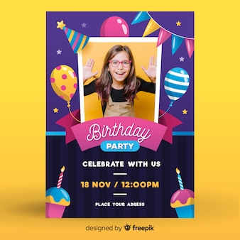 Girls birthday invitation template with photo