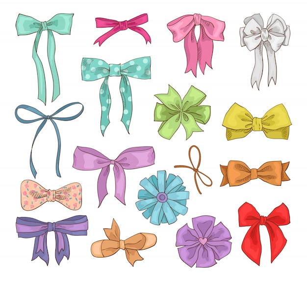 Girls bow vector girlish bowknot or girlie ribbon on hair or for decorating gifts on birtrhday illustration set of bowed or ribboned presents on holidays celebration