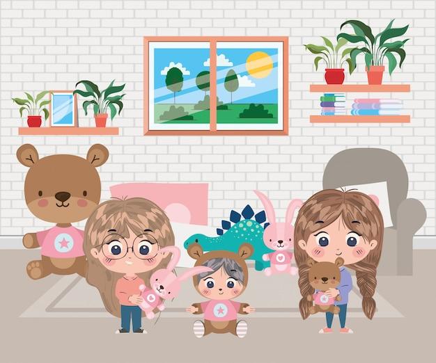 Girls and boy cartoon illustration