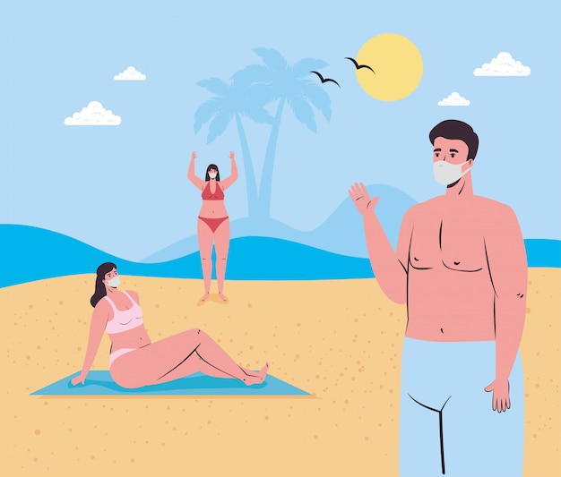 Girls and boy cartoons with medical masks at the beach vector design