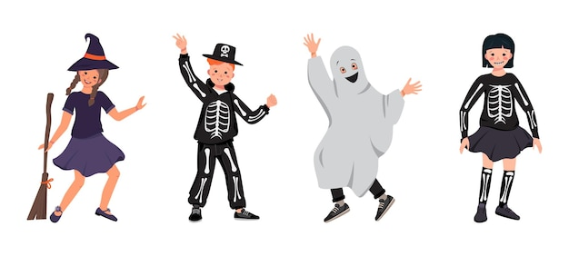Girls and boys in costumes of a witch with a broomstick a skeleton with bones and a skull and ghosts.