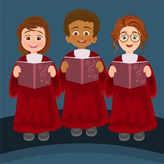 Girls and boys singing