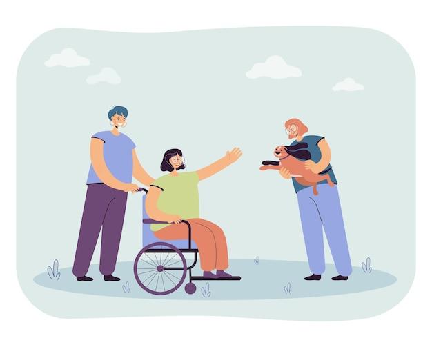 Девочки приносят щенка женщине в инвалидной коляске. плоский рисунок