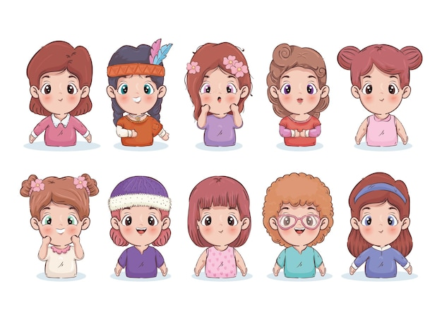 Girls cartoons collection illustration