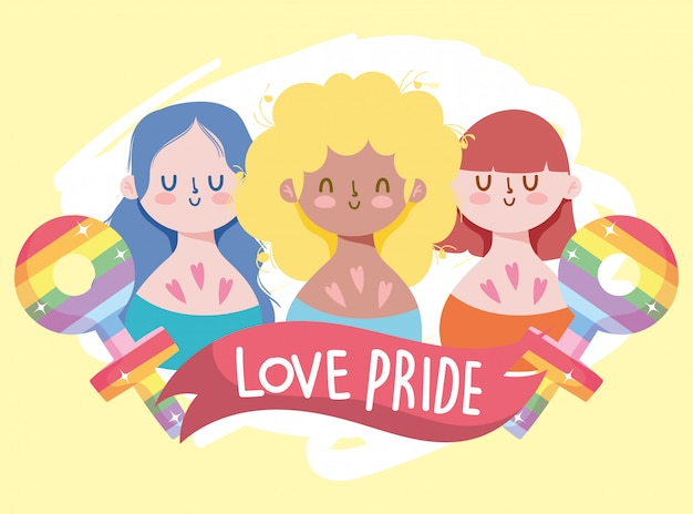 Girls cartoons with lgtbi female and male gender with ribbon vector design