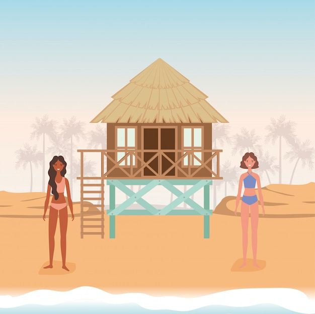 Girls cartoons with swimsuit at the beach with hut vector design